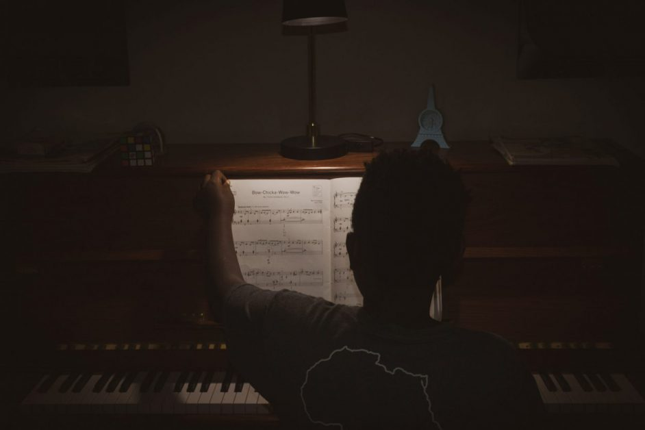 sheet music in dark room