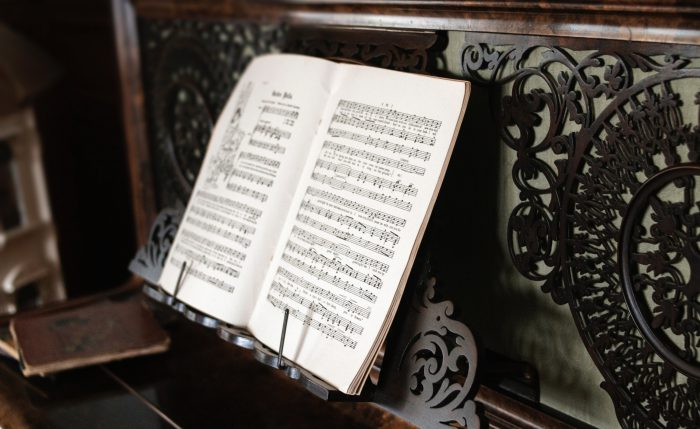 sheet music at piano