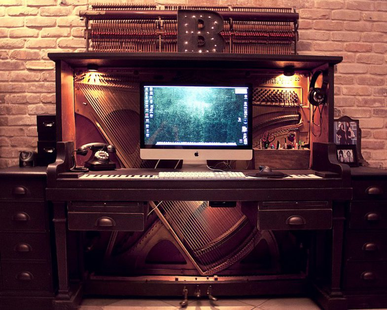 computer desk made from old piano