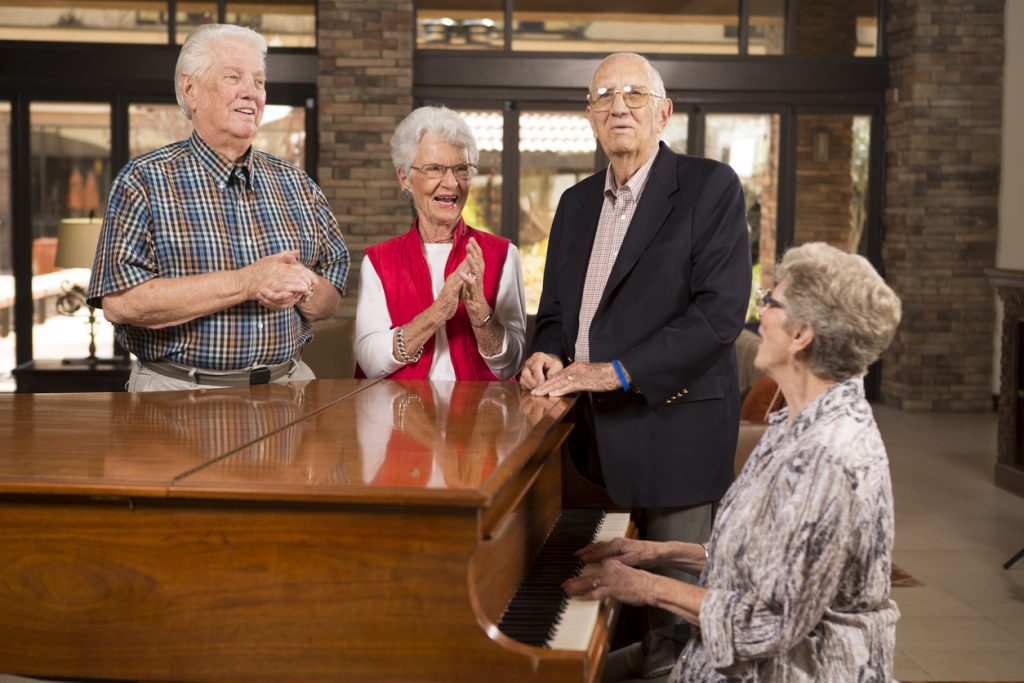 group at piano in a church